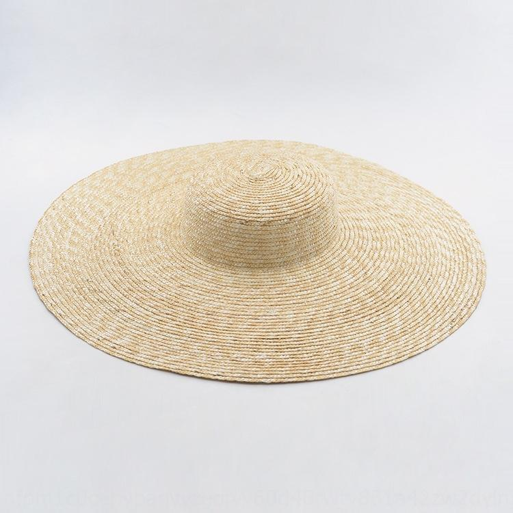 Xia Jia forma chapéu de palha côncava grande borda superior plana das mulheres fase de palha guarda-sol chapéu grande