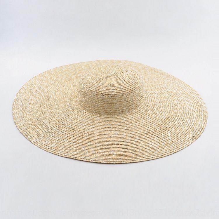 Xia Jia big brim flat top women's stage Straw straw hat concave shape sunshade big hat