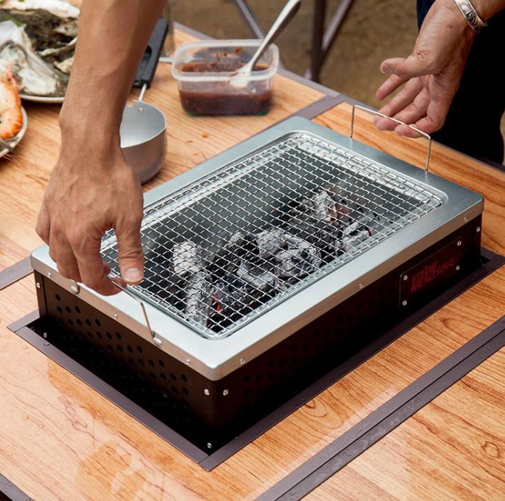 Griglia a carbone barbecue sul tavolo Incorporable Portatile Campeggio all'aperto BBQ Grill Home Desktop BBQ stufa pieghevole e non pieghevole per ristorante Hotel 101