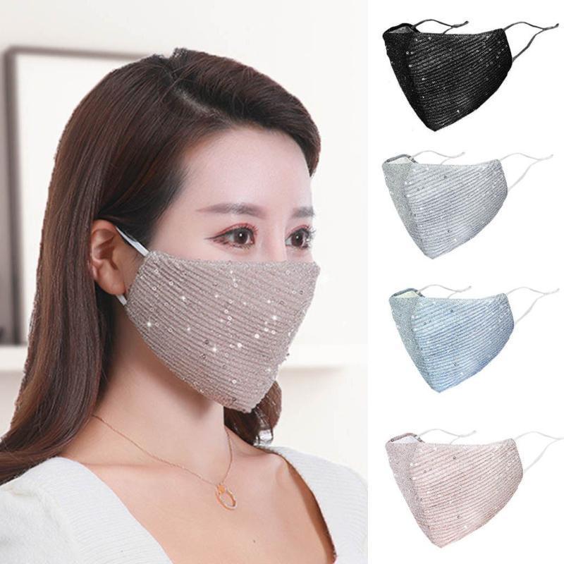 وجه Maskes أزياء للجنسين قابلة لإعادة الاستخدام الجديد PM2.5 في الهواء الطلق الفم قابل للغسل الترتر Tissus Lavable نسيج القطن العتاد وشاح المرأة