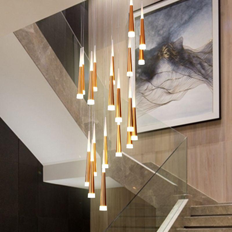 Moderne LED-Pendelleuchte aus Aluminium Konische lange Treppe Kronleuchter Pendelleuchte Spiral Luster Hochdach Pendelleuchte