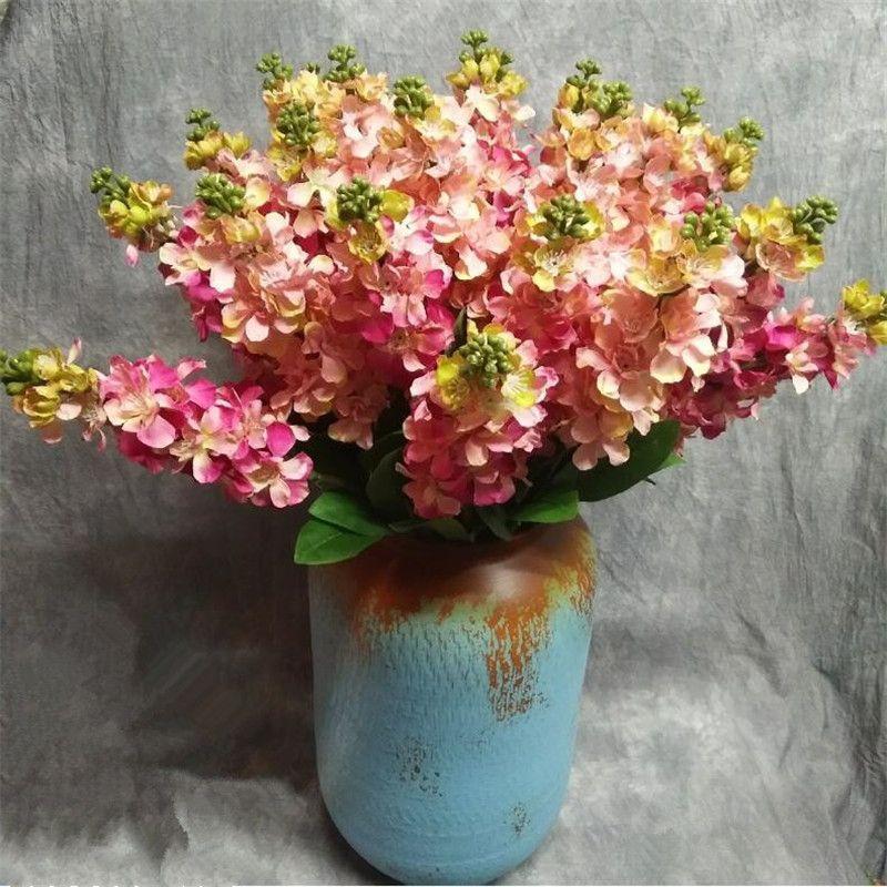 """Gefälschte einzigen Stamm Violet 25.59"""" Länge Simulation Matthiola Incana Silk Delphinium für Hochzeit Startseite Dekorative künstliche Blumen"""