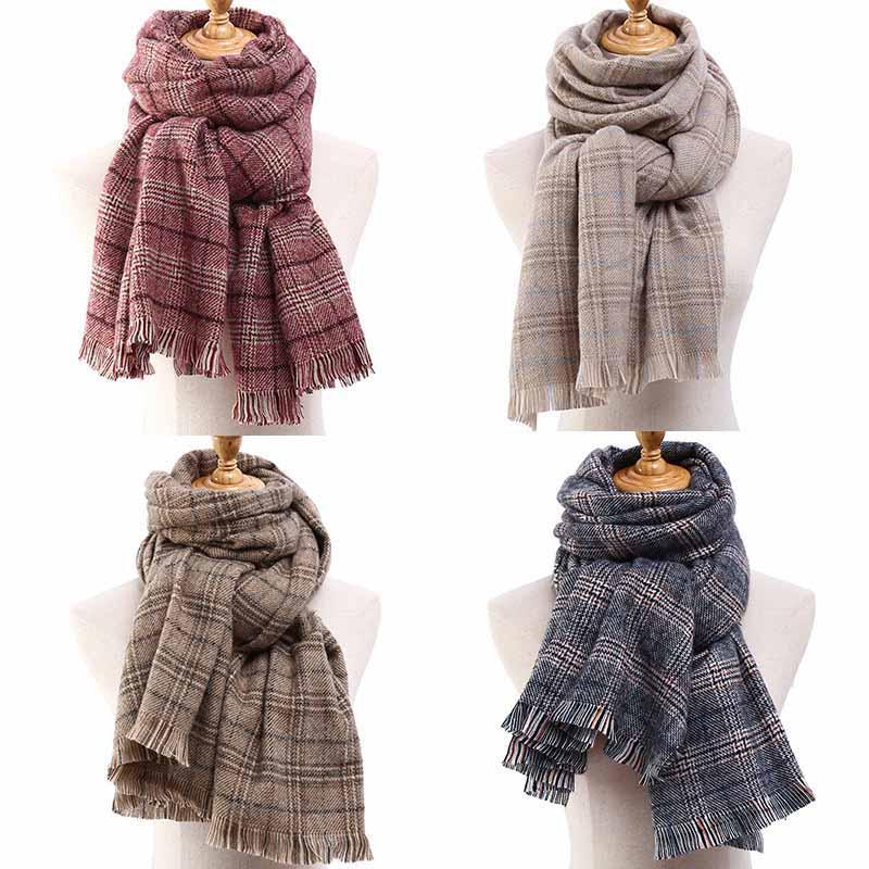 HOUMDSTOOTH La laine Soinning Foulard doux parfum de style écharpe coupe-vent et épaissie écharpe Tassel Châle