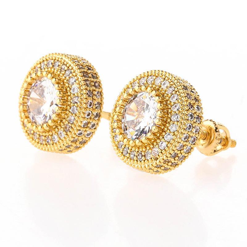 2020 orecchini di design di lusso orecchini hip hop gioielli rotondi orecchini a bottone rotondo da uomo con diamanti simulati