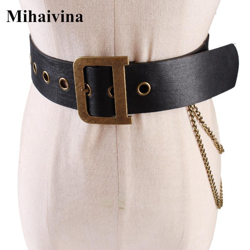 Mihaivina Mujeres Pu Correa de Las Señoras de Moda Punk Hip-hop Cinturones Cintura Vintage D Hebilla Cintura Jeans Pantalón Cadena C19041101