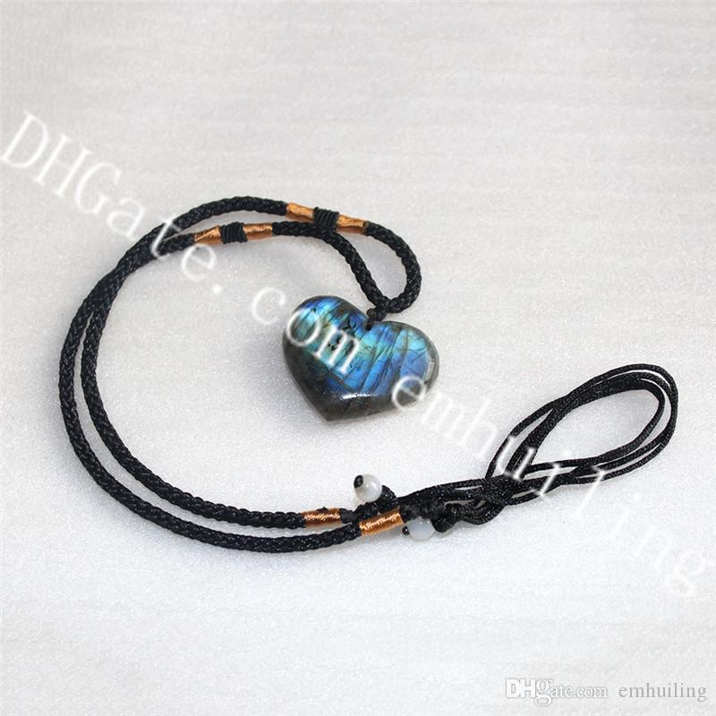 10Pcs Real Labradorite Heart Necklace Chunky Polished Natural Gray Moonstone Spectrolite Stone Heart Pendant Healing Birthday Unusual Gift