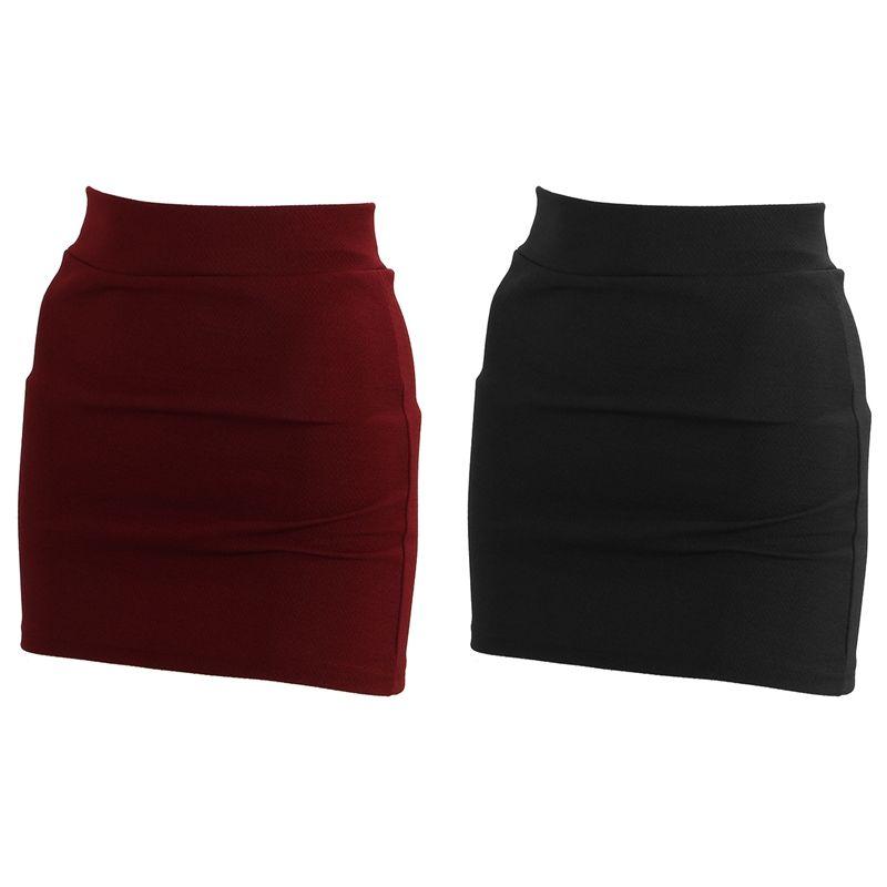 2x Womens Sexy Mini Skirt Girls Slim senza saldatura Stretch stretto Breve Arredata Gonna New Black Red Wine