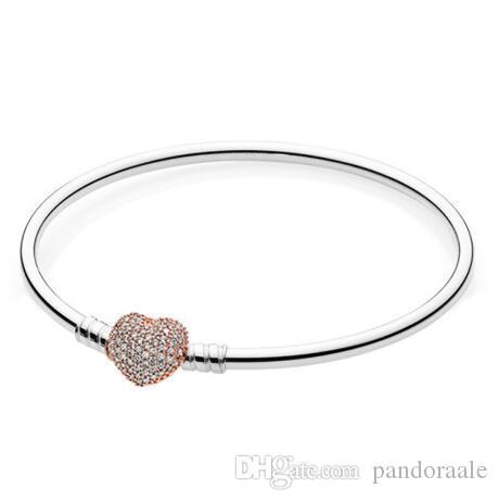 pandora rose gold heart clasp bracelet