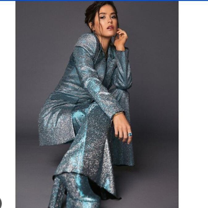 Evening dress Yousef aljasmi Women Suit Kim kardashian 2020 2 pieaces Women suit Crystal suit Coordinates High neck Long sleeve