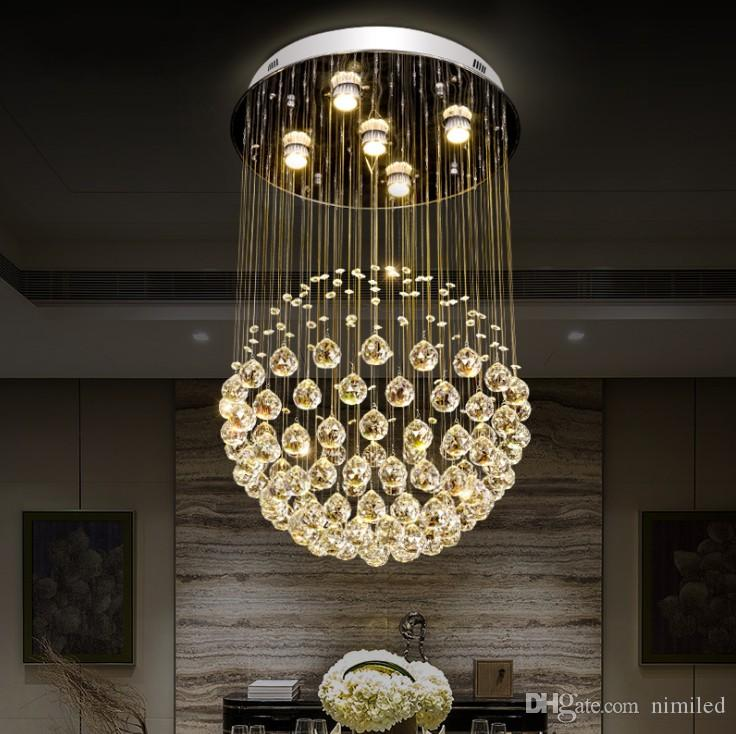 Modern crystal chandelier For Living Room Luxury LED round shape K9 crystal raindrop lighting for dining room and bedroom LLFA