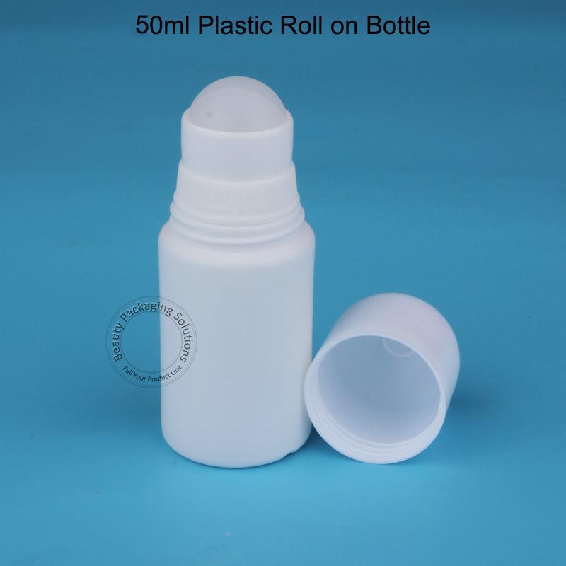 50pcs / Lot gros 50ml en plastique Déodorant Passer sur bouteille couvercle blanc et vide Femmes cosmétiques Pot 50cc Container Soins personnels