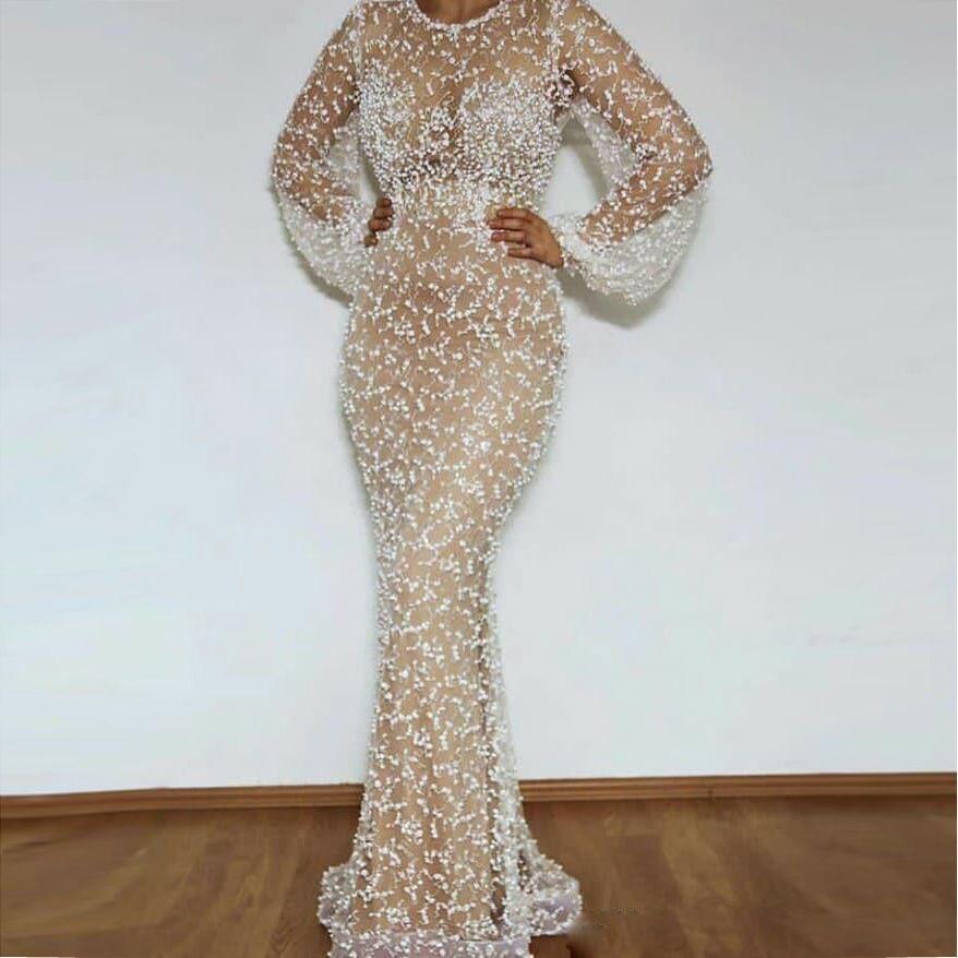 2020 Sheer Aso Ebi sereia manga comprida Vestidos de baile 2020 branco até o chão ocasião vestidos de noite especial Vestidos personalizado