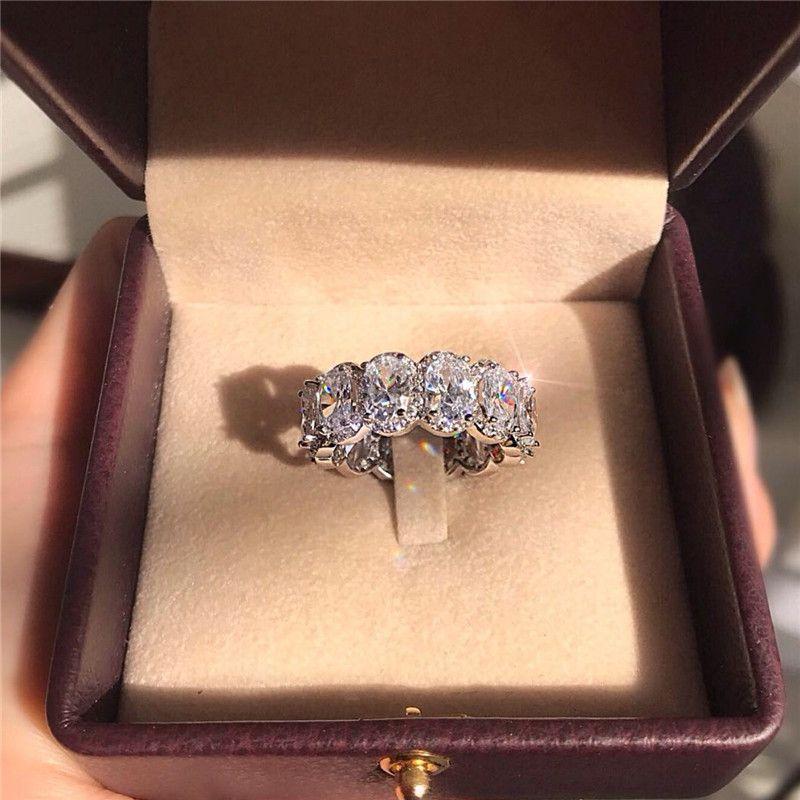 Çarpıcı Sınırlı Sayıda Eternity Band Promise Ring 925 ayar Gümüş Kadınlar Için 11 Adet Oval Elmas cz Alyans