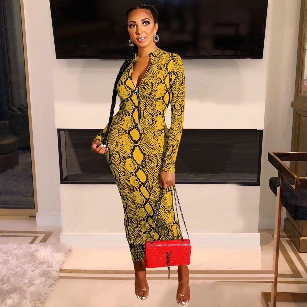 새로운 섹시한 뱀 인쇄 Bodycon 긴 드레스 긴 소매 지퍼 여성 가을 저녁 파티의 밤 드레스 빈티지 Vestidos 의상