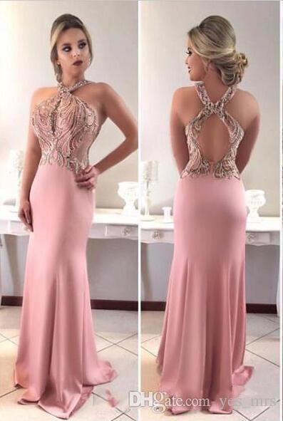 2020 New Sexy Arabic Blush Pink Prom Dresses Wear Halter Beading Crystal Illusion Sleeveless Backless Sweep Train Party Dress Evening Gowns