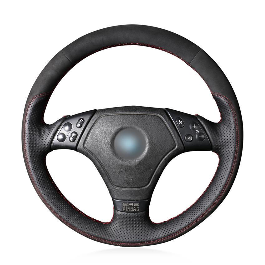أسود جلد طبيعي الجلد المدبوغ اليد خيط مكافحة زلة لينة الغلاف مريحة عجلة قيادة السيارة للBMW E36 E46 E39