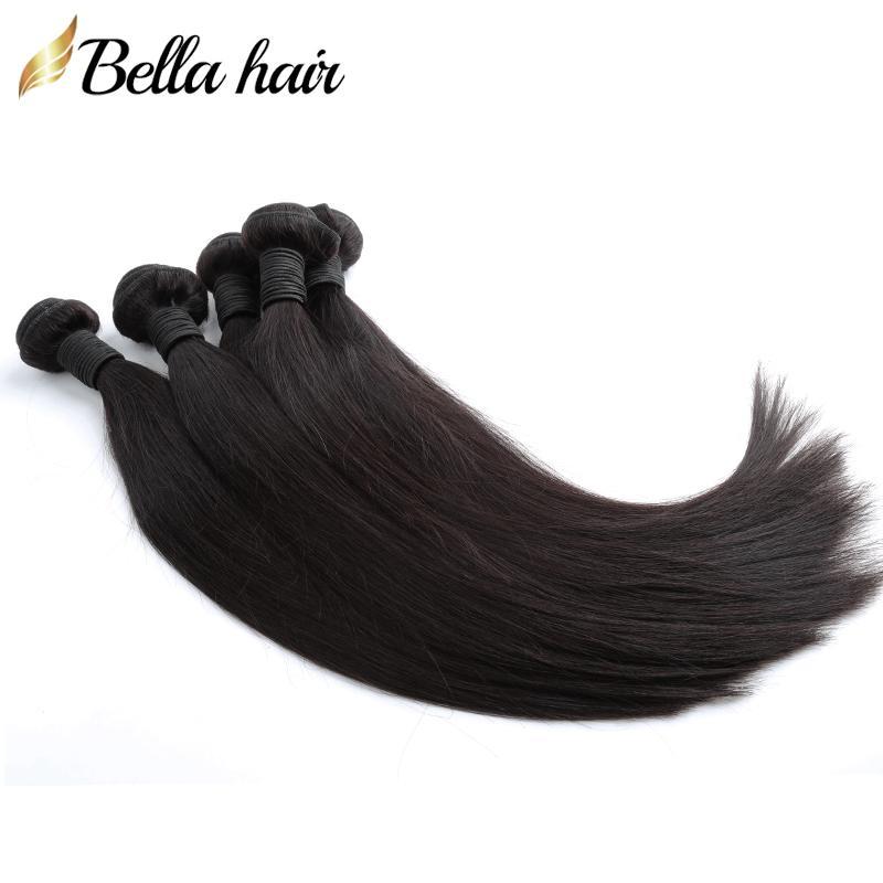 "Rechte haarbundels Menselijke weefsels Peruaanse Virgin Hair Extensions Inslag Remy Menselijke Weave 8 ""-30"" 1Or3or4pcs / lot bella haar"