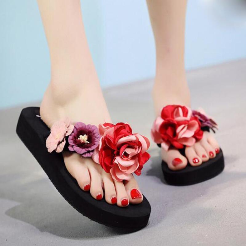 Damen-Schuhe Damen Sommer-Sandalen Frauen Fashion Slipper Flip Flops Strand Wedge starke alleinige Schuhe mit Absatz-Plattform Sandalen b63