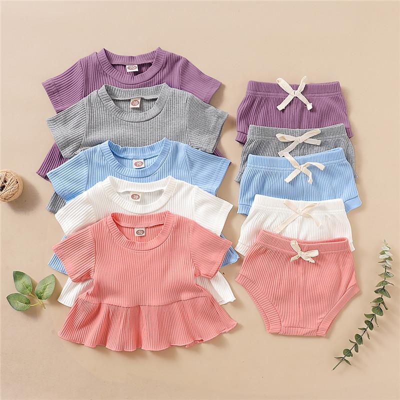 Mikrdoo recém-nascido criança bebê menina doce roupas de algodão conjunto de manga curta Top bonito + curto 2pcs roupa