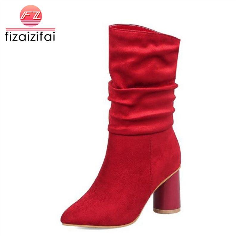 Coolcept mujer zapatos de tacón alto botas de invierno de piel medio caliente Tamaño simple de la manera Calzado botas cortas de las mujeres 34-43