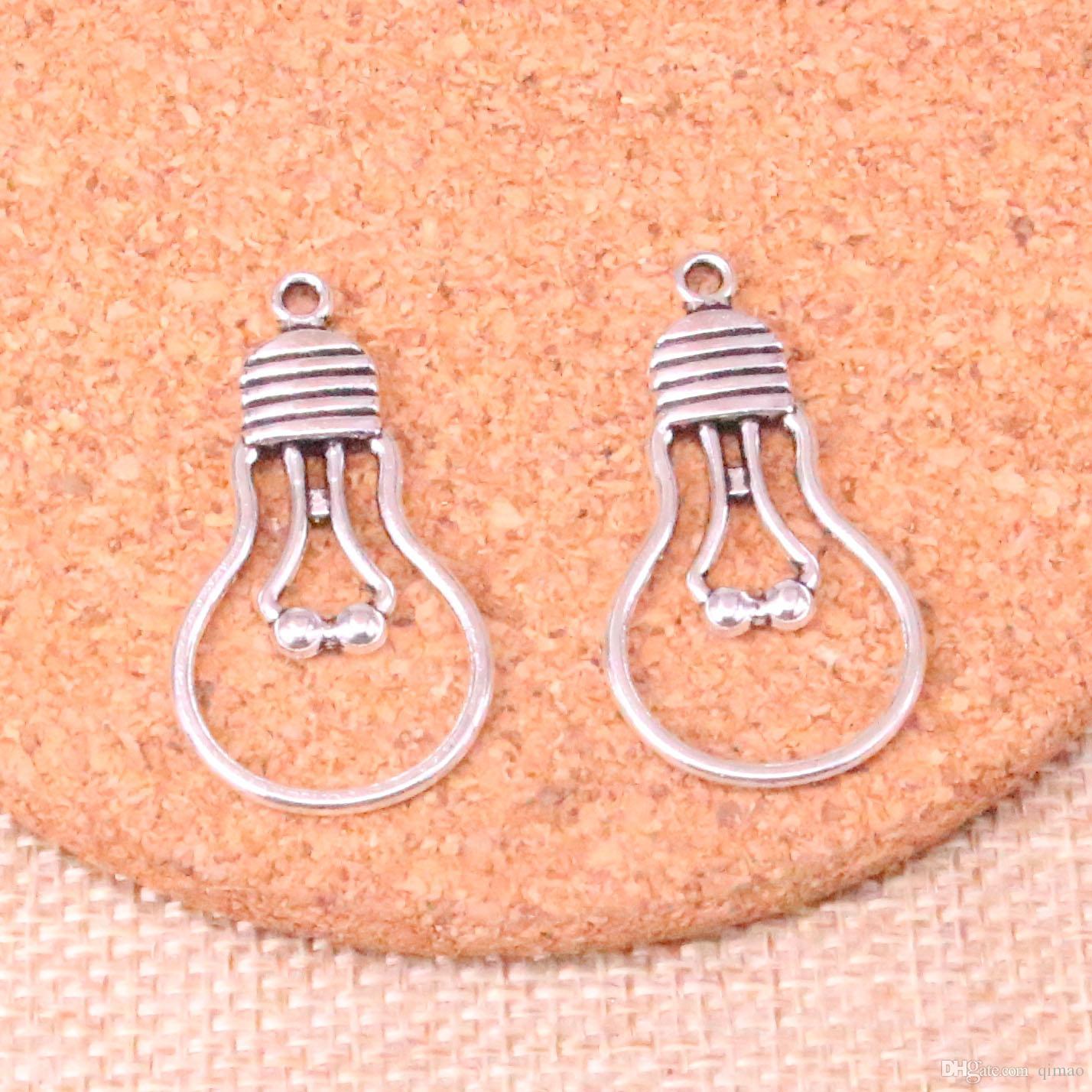80pcs incanta la lampadina i pendenti placcati argento antichi misura i monili che fanno i risultati accessori 19 * 35mm