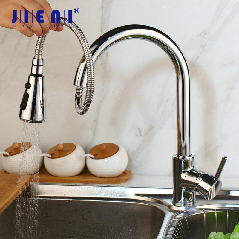Jieni Negro Cromo giratoria grifo de la cocina grifo mezclador Pull Out spray cubierta de latón Placa Níquel cepillado 1 manija grifo mezclador de cocina
