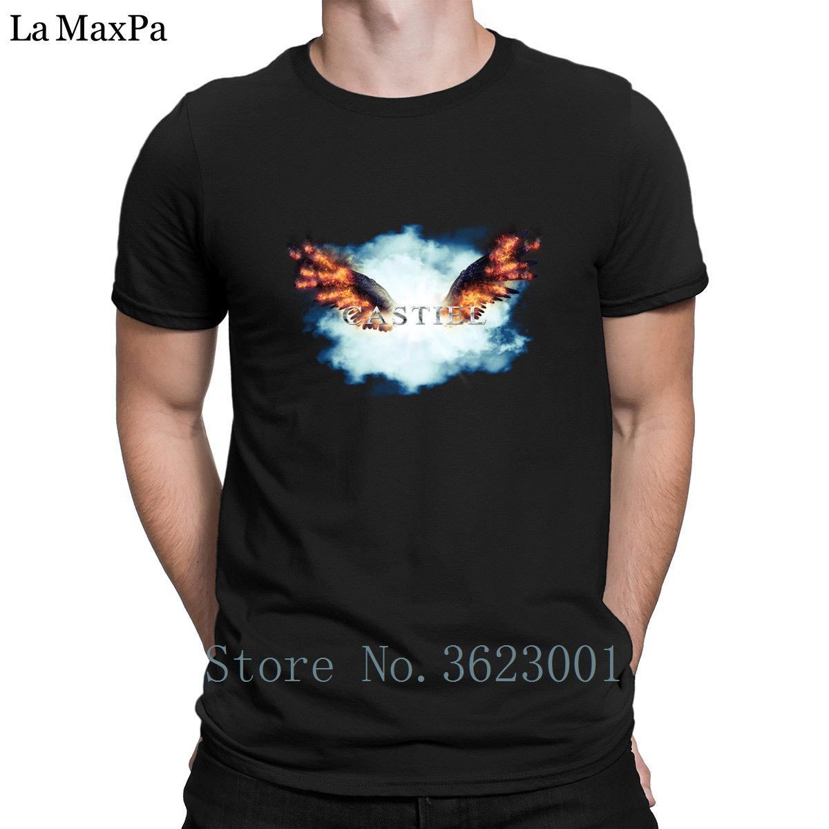 Özelleştirme Yeni Stil Tişört Castiel İniş Tee Gömlek Kostüm Kırışıklık Karşıtı Tişörtü İçin Erkekler Pamuk Erkekler Tişörtlü Garip Doğal