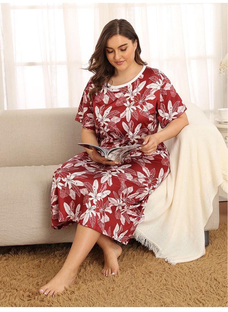 Taille Plus Femmes d'été concepteur de nuit manches mi-longues Flora imprimé traditionnel sommeil Hauts précarisés Vêtements