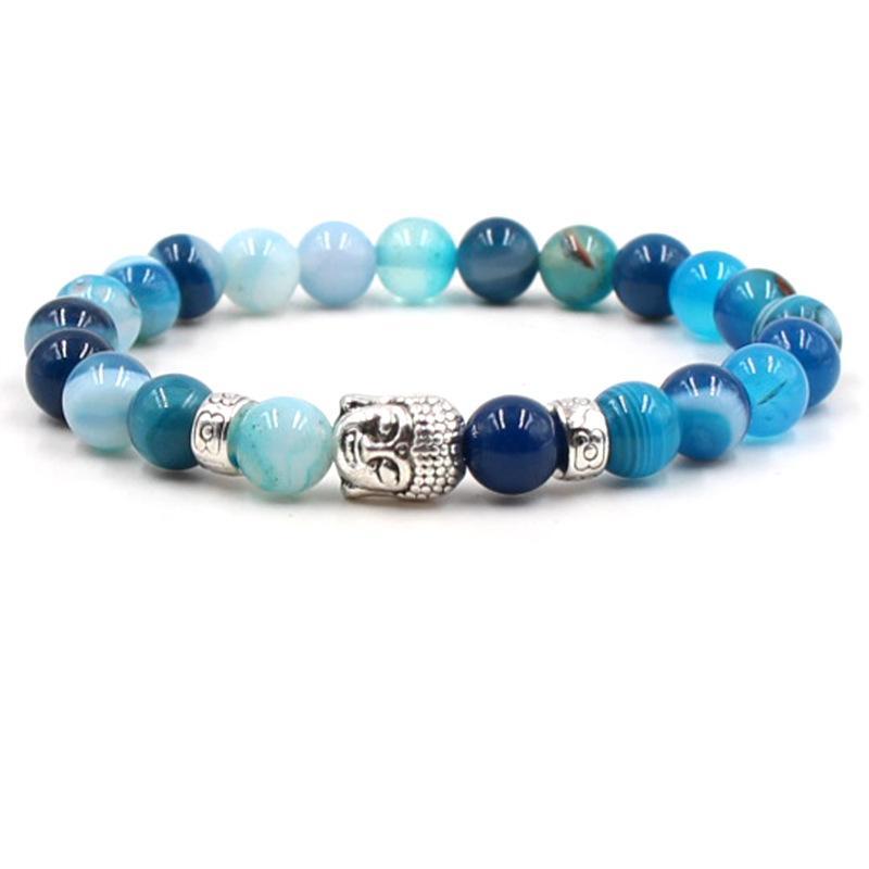 Mode Armband Buddha Weathering Achat Armbänder Naturstein Armbänder Elastische Armreifen Für Männer Frauen Yoga Armbänder