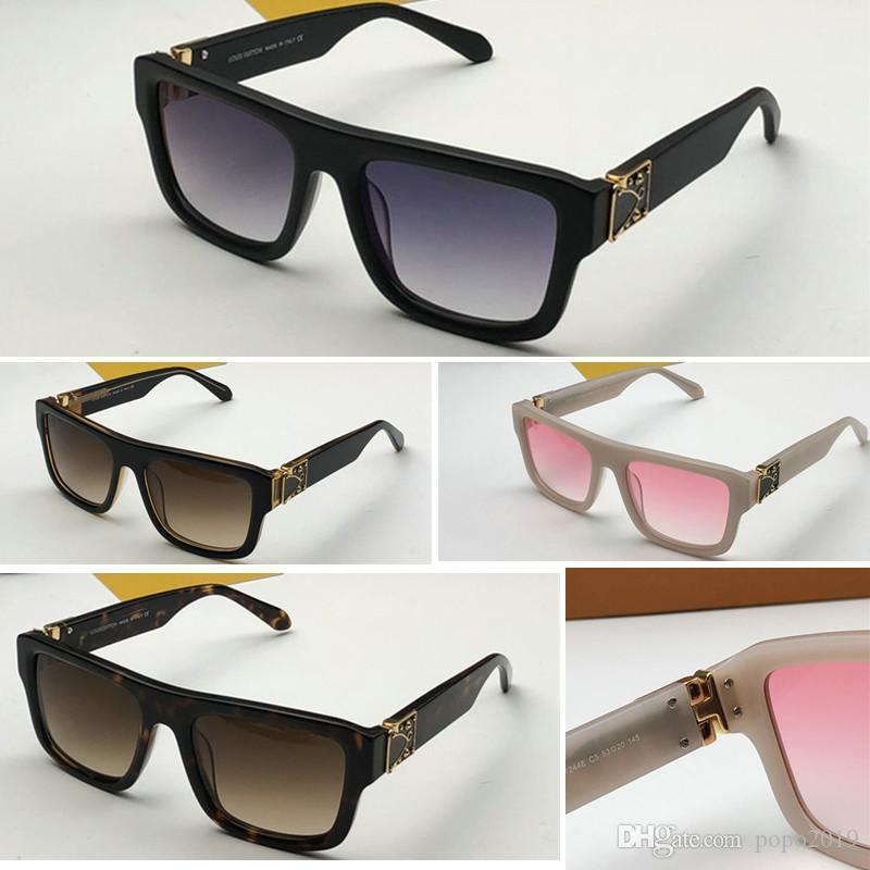 النظارات الشمسية الفاخرة للرجال والنساء الإطار الكامل مصمم خمر 1244 النظارات الشمسية للرجال لامعة الذهب شعار حار بيع الذهب مطلي مع الاطار الأصلي