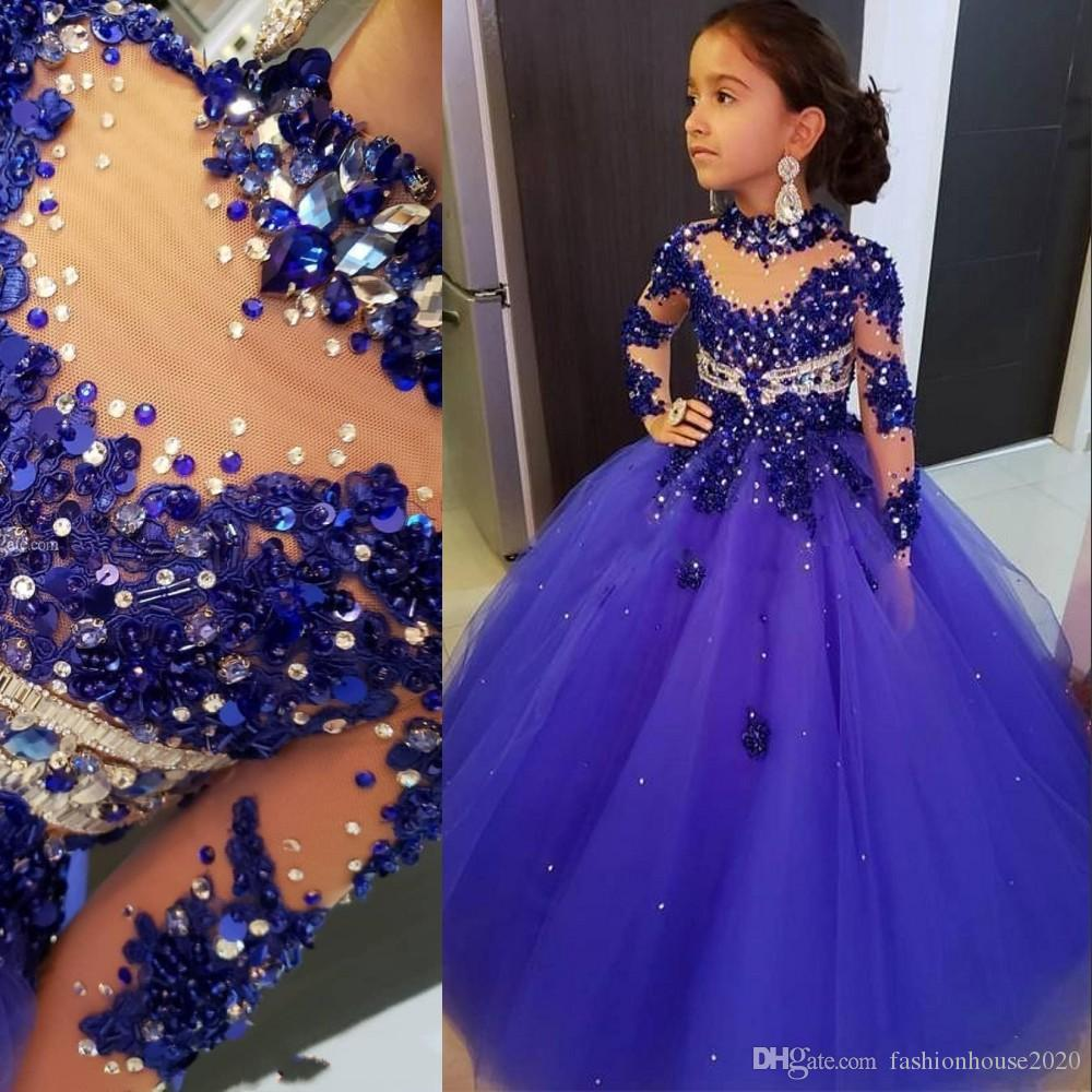 Royal Blue Ball Gown Girls Pageant Dresses High Neck Long Sleeves Lace Appliques Crystal Beads Kids Formal Prom Toddler First Communion Gown