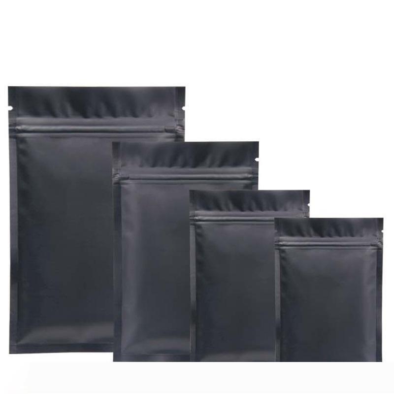 Un papel de aluminio de auto sellado de bolsas Negro Color de fondo plano Matt embalaje bolsas de té pequeña bolsa envase de alimento para imprimir mayorista 0 21