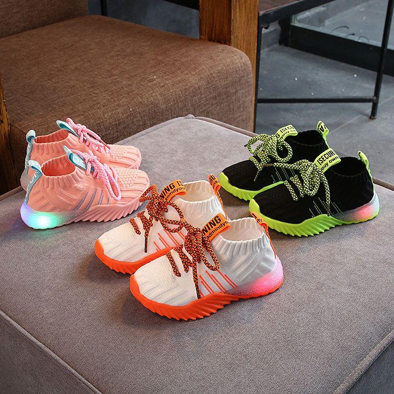 Sapatos crianças Esportes Outono LED Outdoor Light Up Lace-Up Shoes Meninos respirável Athletic Meninas tênis de corrida Casual Shoe 07