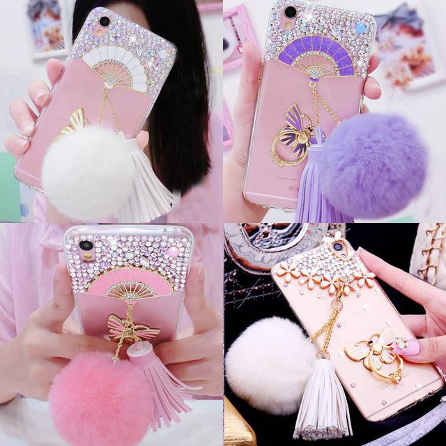 Fur Ball Tassel Phone Case For Motorola Moto G6 E5 Z2 Play C G5 G5S Plus Diamond Phone Holder Cases For Moto P30 Note Play
