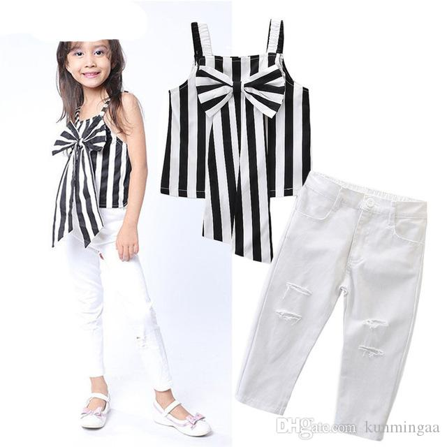 Girls Sets Clothing 2019 Children Summer Suit Kids Clothes Baby Toddler Girls 3Pcs Striped T-shit With Bow-knot+Pants Cotton