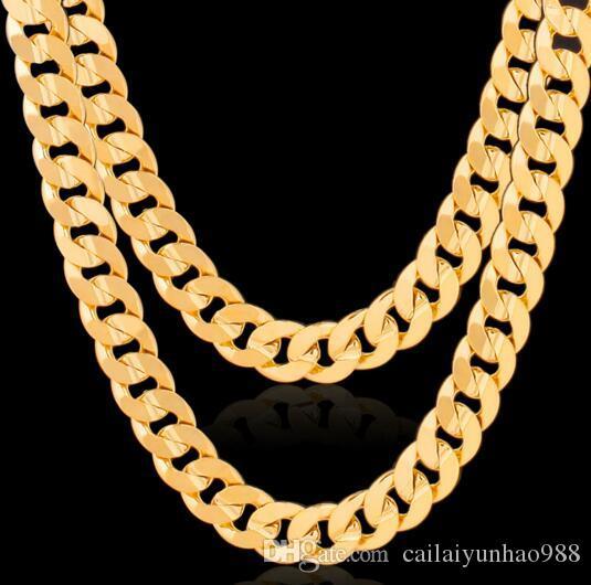 Moda Erkekler 18K Miami altın kaplama tankı zinciri