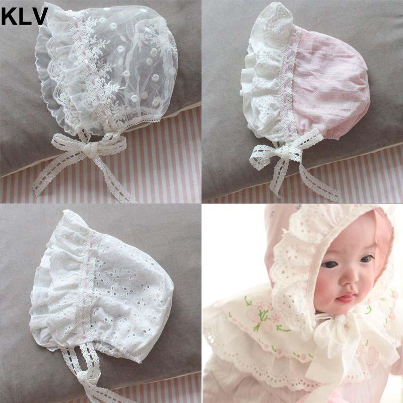 Summer Sweet Newborn Cap Child Wide Side Lace Lacing Hat Maternal and Child Supplies Princess Cool Baby Girls Hats