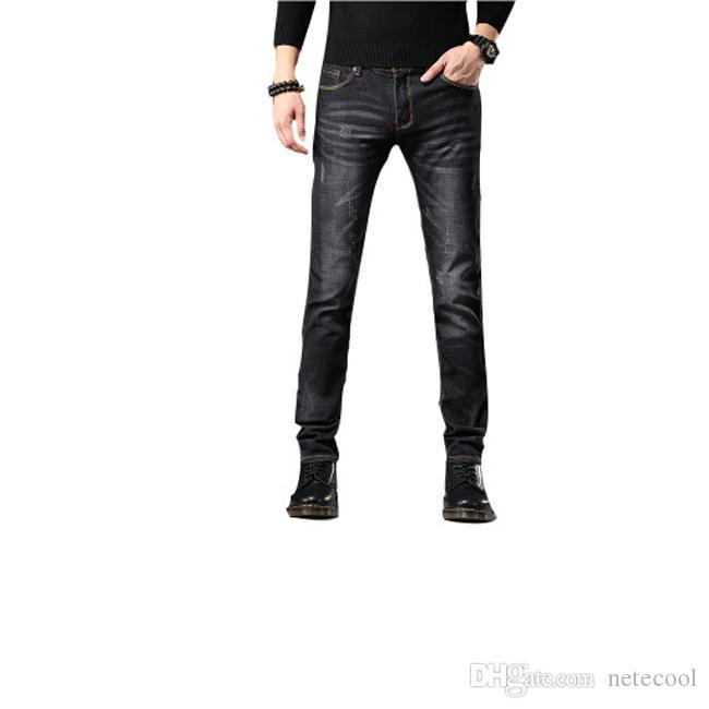 Дизайнерские узкие джинсы мужские прямые SLIM эластичные джинсы мужские случайные мужские стрейч джинсовые брюки классические брюки карандаш Размер 29-36