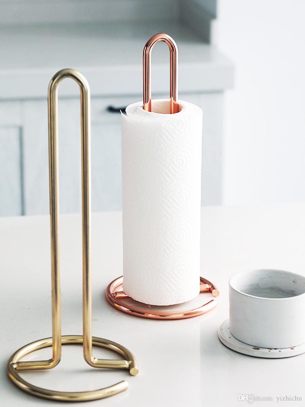 Nordic Vertical Metal Paper Towel Rack Dining Table,Kitchen Toilet Roll Paper Rack Stand Holder 12.4