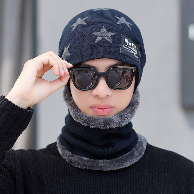 Imprimieron el sombrero de invierno de los hombres de la estrella y la bufanda Conjunto Skullies Beains algodón grueso invierno cálido sombrero anillo bufanda femenina Gorros de Hombres