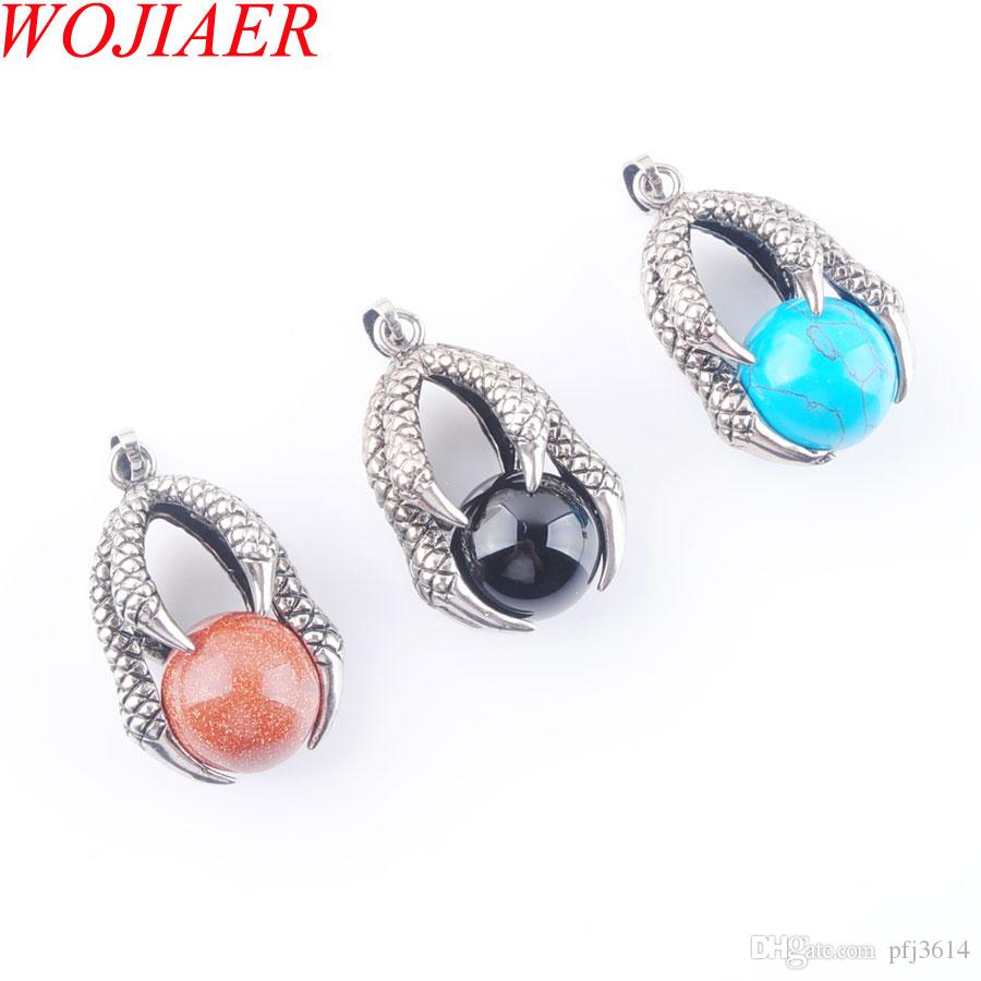 WOJIAER NEW Vintage Opal Stone Pendants Fashion Round Bead Claw Silver Pendant Necklace Statement Bohemian Jewelry for Women DBN310