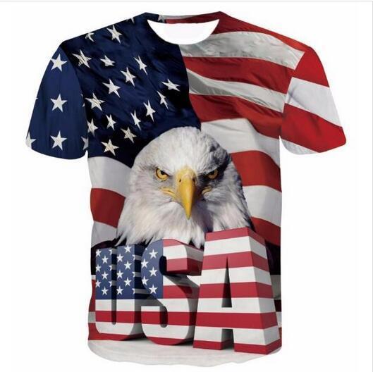 El más nuevo diseño para mujer / hombre fresco EE. UU. Águila Mangas cortas divertidas Impresión 3D Camiseta estilo del verano Camiseta ocasional Envío libre