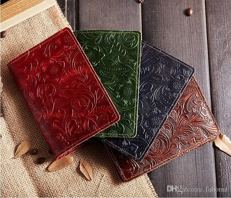 جلد غطاء جواز سفر - ريترو إمرأة رجل حامل جواز سفر حقيبة سفر معرف حامل بطاقة الائتمان حالة 10 ألوان