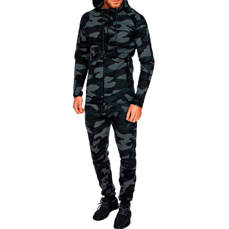 Litthing Mens 두 조각 세트 카모 인쇄 후드 풀오버 바지 Sportwear tracksuit 정장 가을 남성 위장 탑 바지 세트