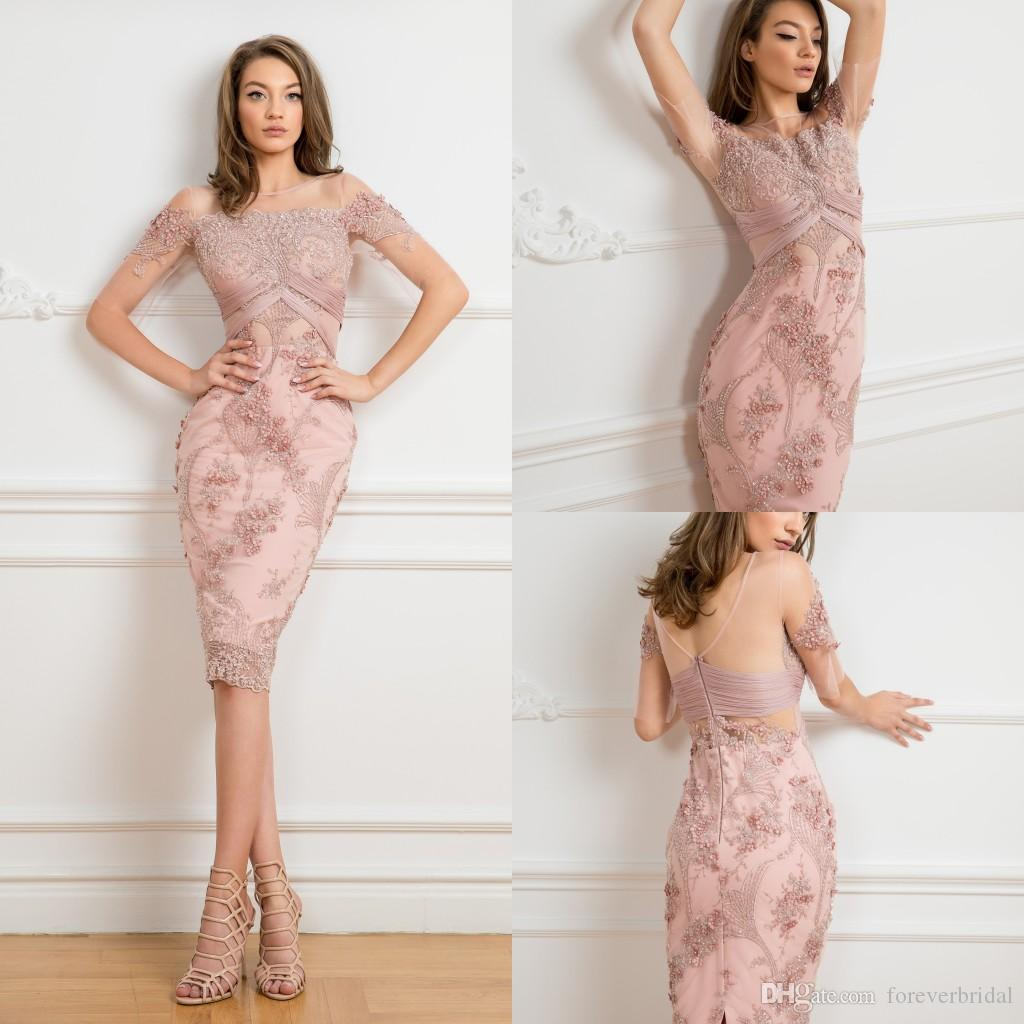 2019 Sheer Jewel Neck Mother Of Bride Dresses Full Lace Applique Short Sleeve Women Prom Gowns Sequins Zipper Back Mother's Dresses