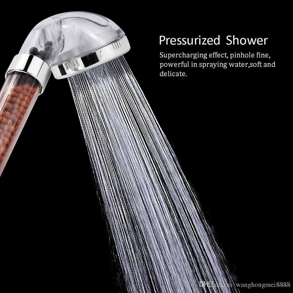 새로운 스테인레스 스틸 샤워 헤드 고압 부스팅 물 절약 건강한 부정적인 이온 필터 공 구슬 욕실 액세서리