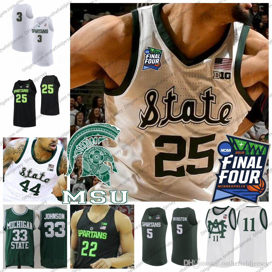 2019 Final Four Michigan State Spartans Basket Baskey Jersey 25 Kenny Goins 44 Nick Ward 0 Kyle Ahrens 3 Foster Leyer 11 Aaron Henry Msu S-4XL