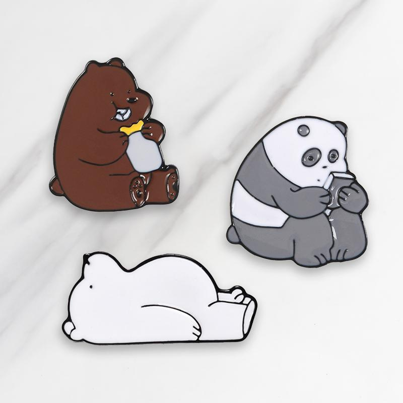 3pcs/set Cartoon Animals Pin Bare Bears Cute Grizzly Panda Ice Bear Denim Enamel Brooch Kawaii Lapel Brooches Badges Fashion Gifts
