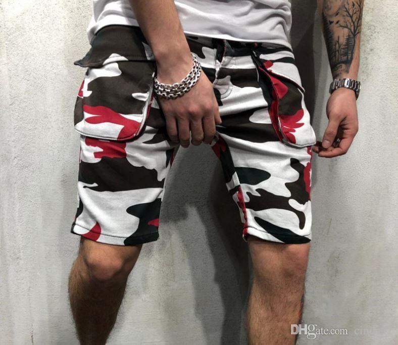 Mens Shorts Na Altura Do Joelho Macacão Camuflagem Multi Bolso Ao Ar Livre de Fitness Tipo Solto Calças de Lazer Ocasional Verão Regular