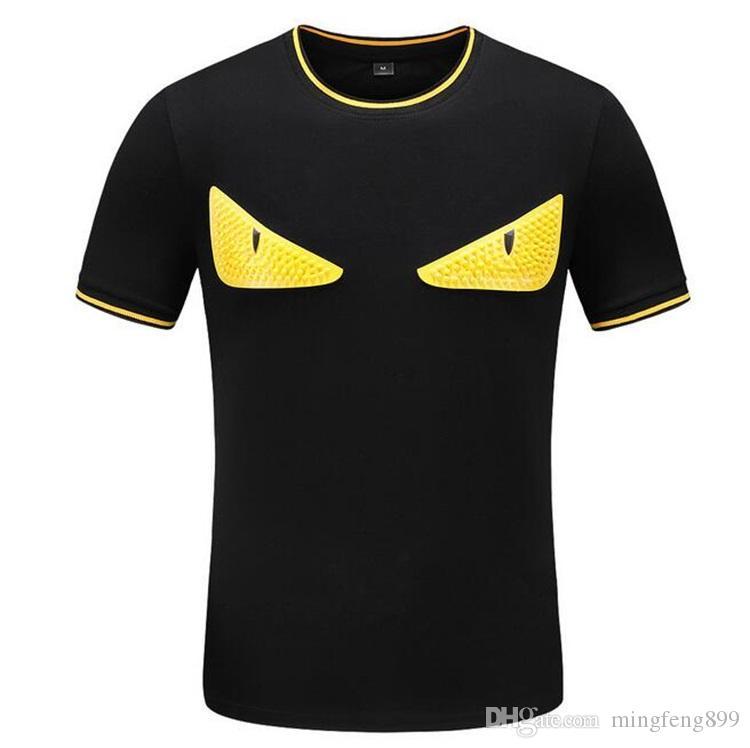 En 19SS Erkek Tasarımcı T Gömlek Çoklu Değiştirilebilir Göz Baskı Büyük Beden Pamuk Moda Trend Nefes Stil T Gömlek